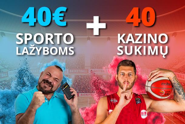 40€ sportui + 40 sukimų